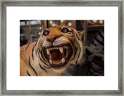 Framed Print featuring the photograph Vintage Carousel Tiger - 1 by Renee Anderson