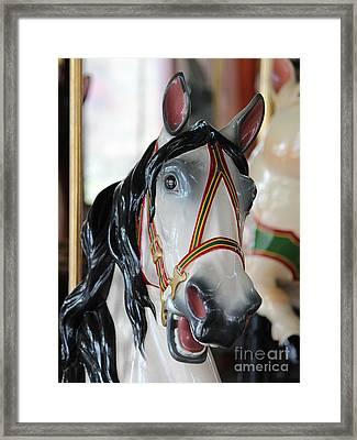 Carousel White Horse Black Mane Framed Print by Robert Yaeger