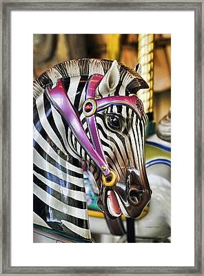 Carousel Zebra Framed Print