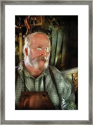 Carpentry - The Carpenter And His Workshop Framed Print by Mike Savad