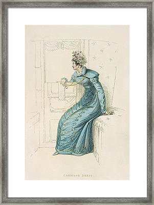 Carriage Dress, Fashion Plate Framed Print by English School
