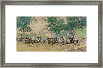 Carriage Driving Near The Rotunda In Vienna Framed Print
