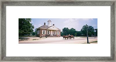 Carriage Moving On A Road, Colonial Framed Print