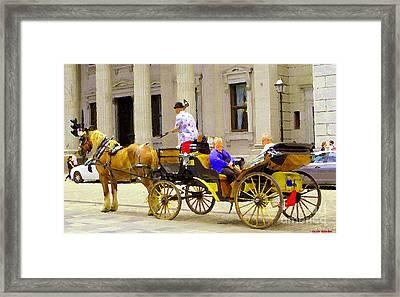 Carriage Ride On Cobblestones Rue Notre Dame Tan Horse Golden Caleche Old Port Quebec Scene Cspandau Framed Print by Carole Spandau