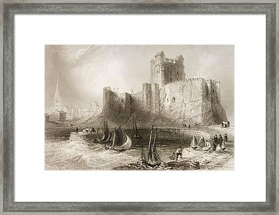 Carrickfergus Castle, County Antrim, Northern Ireland, From Scenery And Antiquities Of Ireland Framed Print