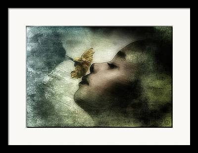 Girl Smelling A Flower Framed Prints