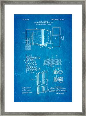 Carrier Air Conditioning Patent Art 1906 Blueprint Framed Print