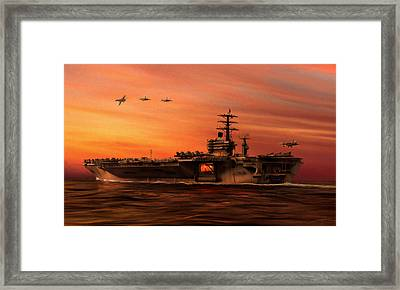 Carrier Ops At Dusk Framed Print by Dale Jackson