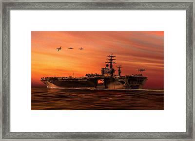 Carrier Ops At Dusk Framed Print