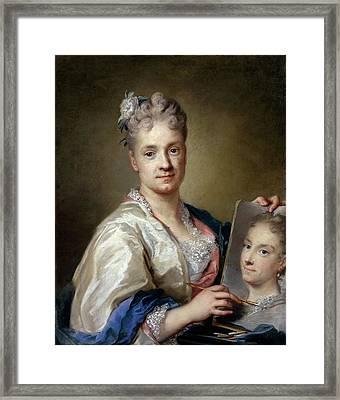 Carriera Rosalba, Self-portrait, 1715 Framed Print by Everett