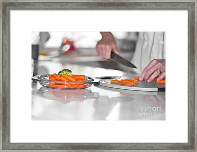 Framed Print featuring the photograph Carrot Cutting In Kitchen by Gunter Nezhoda