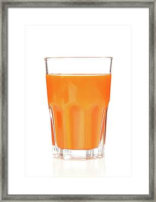 Carrot Juice In Glass Framed Print by Wladimir Bulgar