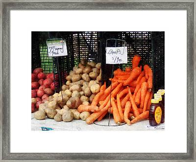 Carrots Potatoes And Honey Framed Print by Susan Savad