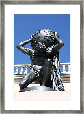 Carry The Earth - Atlas At The Ringling Museum Framed Print by Christiane Schulze Art And Photography