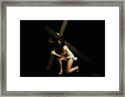 Carrying The Cross Iv Framed Print by Ramon Martinez