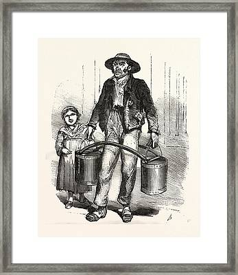 Carrying Water, Europe Framed Print by French School
