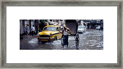 Cars And A Rickshaw On The Street Framed Print by Panoramic Images
