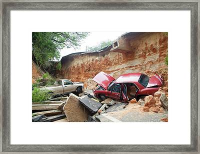 Cars And Road Washed Out By Flooding Framed Print by Jim Edds