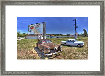 Cars At The Drive-in Framed Print