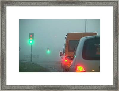 Cars Driving In The Fog Framed Print by Ashley Cooper