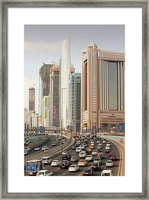 Cars In Dubai Framed Print by Ashley Cooper