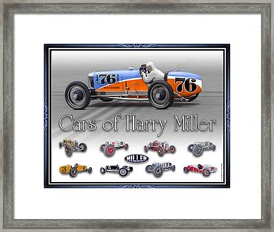 Cars Of Harry Miller Framed Print