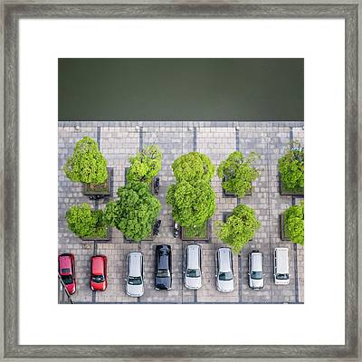 Cars On A Parking Lot Framed Print by Chinaface