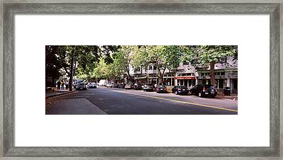 Cars Parked At The Roadside, College Framed Print by Panoramic Images