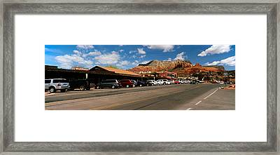 Cars Parked At The Roadside, Sedona Framed Print by Panoramic Images