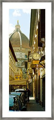 Cars Parked In A Street Framed Print by Panoramic Images