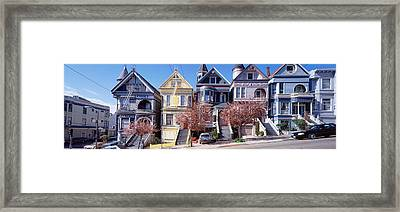 Cars Parked In Front Of Victorian Framed Print by Panoramic Images