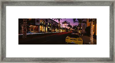 Cars Parked On The Road, Rodeo Drive Framed Print by Panoramic Images