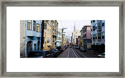 Cars Parked On The Street, Transamerica Framed Print by Panoramic Images