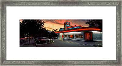 Cars Parked Outside A Restaurant, Route Framed Print