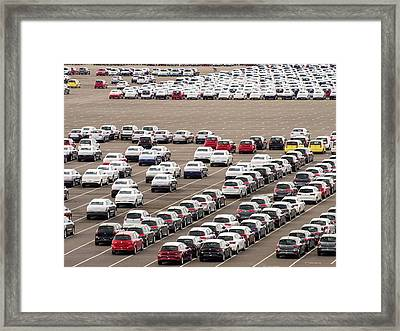 Cars Ready For Export Framed Print by Ashley Cooper