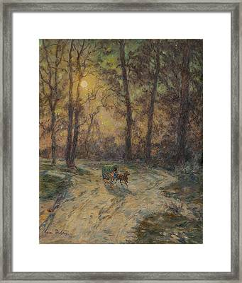Cart In A Wood Framed Print by Henri Duhem