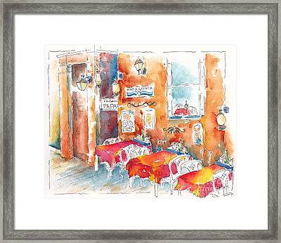 Cartagena Colombia Cafe Framed Print by Pat Katz