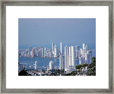 Cartagenha Columbia In A Distance Framed Print by Gena Weiser