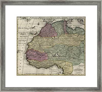 Carte De La Barbarie Le La Nigritie Et Del La Guinee  1792 Framed Print by Compass Rose Maps