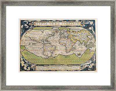 Carte Ortelius World Map 1570 Ad Framed Print by L Brown