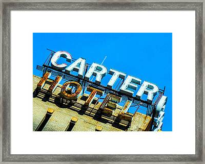 Carter Hotel Sign Framed Print by Jon Woodhams