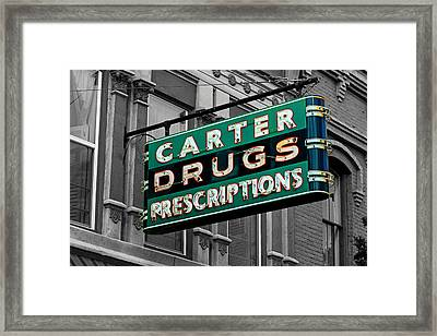 Carter Prescription Drugs Framed Print by Daniel Woodrum