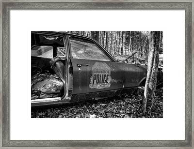 Cartersville Police Car In Black And White Framed Print