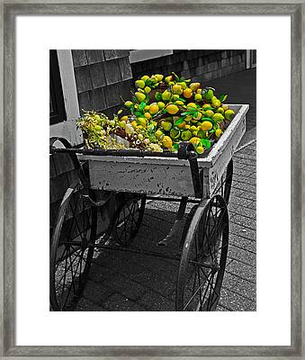 Cartful Of Lemons And Apples Framed Print