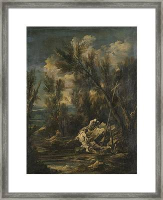 Carthusian Monks In A Landscape, Alessandro Magnasco Framed Print