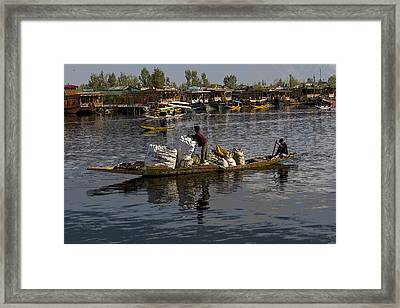 Cartoon - Balancing Large Bags On A Small Boat In The Dal Lake In Srinagar Framed Print by Ashish Agarwal