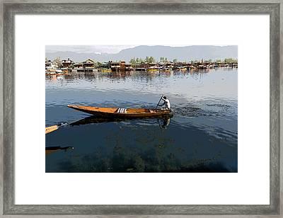 Cartoon - Boat Among The Weeds - Man Rowing His Boat In The Dal Lake In Srinagar Framed Print by Ashish Agarwal