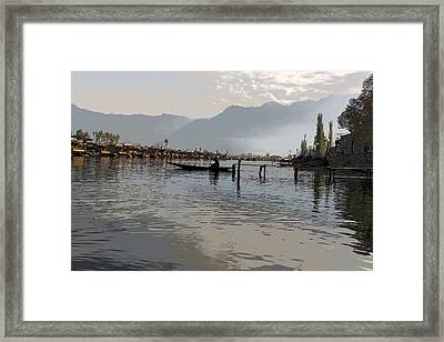 Cartoon - Boatman On A Small Wooden Boat Near The Shore Of The Dal Lake In Srinagar Framed Print by Ashish Agarwal