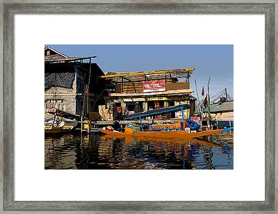 Cartoon - Floating Shop Shikara Along With Another Shop On Floats In The Dal Lake Framed Print