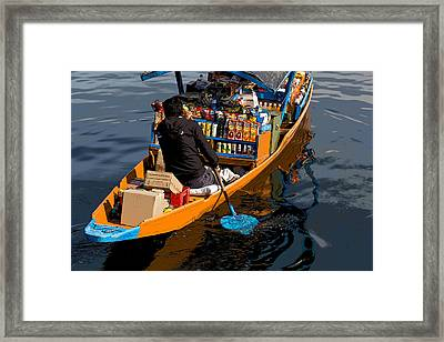 Cartoon - Groceries At Your Doorstep - Grociers On A Shikara On The Dal Lake Framed Print by Ashish Agarwal
